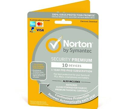 Norton Security Premium 2018/2019 10 Devices + Backup 1 Year - Fast Del Email