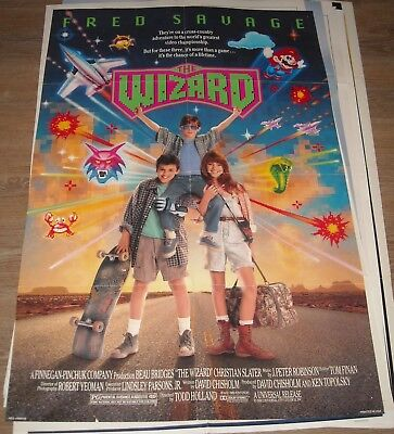 1989 The WIZARD 1 SHEET MOVIE POSTER FRED SAVAGE DOUBLE SIDED CHRISTIAN SLATER