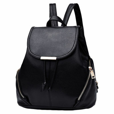COOFIT Women Girl Leather Backpack Flap Cover Casual School Bag Travel Rucksack