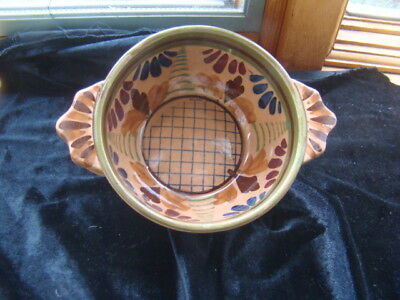 "Vintage Japanese Pottery Hand painted Clay Porringer Bowl 4-1/2"" RARE Handles"