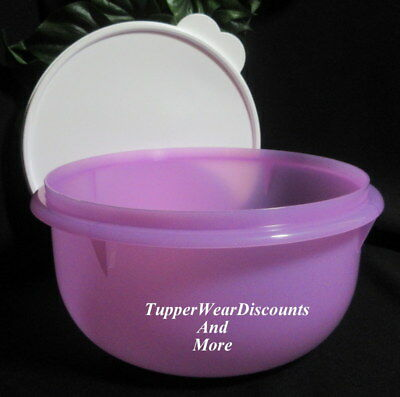 Tupperware New Classic Flat Bottom Sheer Purple 12 Cup Mixing Bowl White Seal