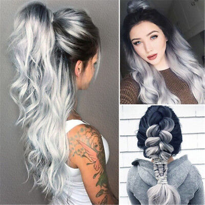 White Grey Silver Women Beauty Wig Heat Resistant Synthetic Hair Long Wavy Wigs