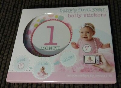 NEW BABY'S FIRST YEAR BELLY STICKERS 1-12 Months BABY GIRL PINK Stepping Stones