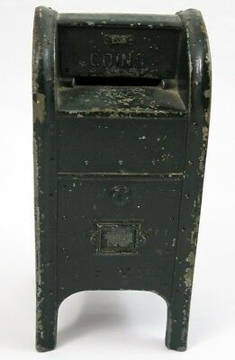Vintage or Antique Cast Aluminum U.S. MAIL Coin Coins Bank Painted Dark Green