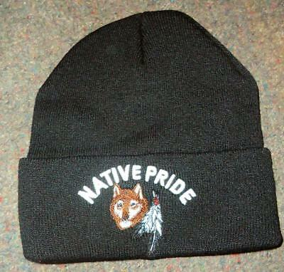 Native Pride NDN New Embroidered Black Beanie Stocking Wolf Eagle Feather Cap