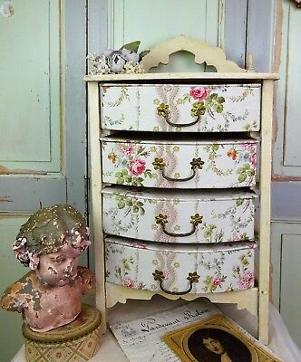 LOVELY RARE ANTIQUE FRENCH DRESSER COVERED FABRIC BOUDOIR BOX 4 DRIWERS 19th
