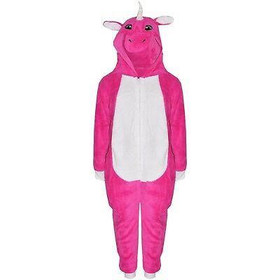 Kids Girls Cerise Unicorn A2Z Onesie One Piece  Hooded Soft Fluffy Xmas Costume