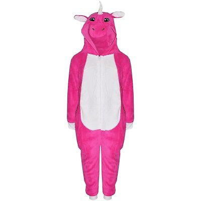 Kids Girls Unicorn A2Z Onesie One Piece Cerise Hooded Soft Fluffy Xmas Costume
