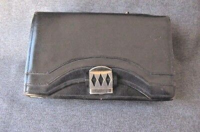 Antique art deco machine age galalith & chrome clasp genuine leather purse bag
