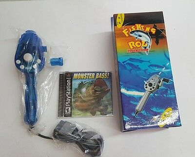 NEW Fishing Rod Pole Controller & Monster Bass Game for Playstation 1 PS2 Psone
