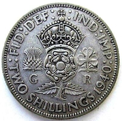 Great Britain Uk Coins, Two Shillings 1940, George Vi, Silver 0.500