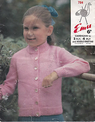 e6f8628d84e30 Vintage EMU Knitting Pattern Childs Easy Knit Cardigan in DK 3ply   4ply  24-32