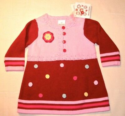 NEW HANNA ANDERSSON Baby Rosette Knit SWEATER DRESS 60 2-6 Months $52