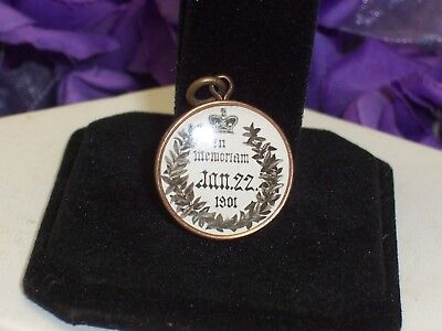 1901 Queen Victorian Memorial Charm Pendant Fob With Image