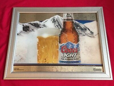COORS LIGHT BEER Cold Activated Bottle Cold ROCKY MOUNTAINS Advertising Mirror