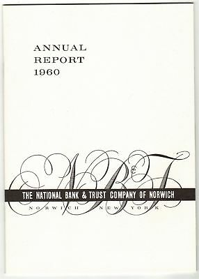 National Bank & Trust Company of Norwich 1960 Vintage Annual Report NY New York