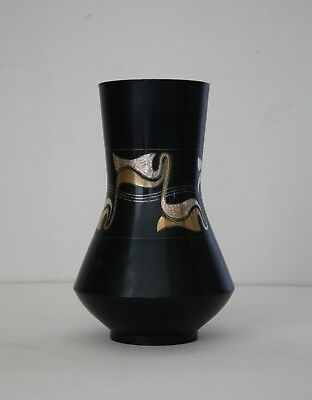 1960s MID-CENTURY MODERN Japanese Chokin SIGNED Mixed Metal ABSTRACT Vase Danish