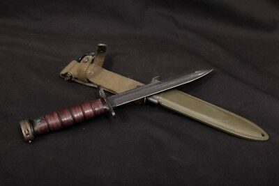 wwii utica us m4 bayonet leather handle with b m co usm8a1 scabbard