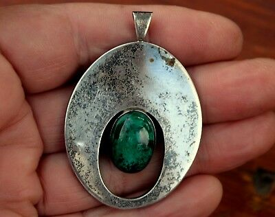 Large Antique Eliat Stone & Sterling Silver Modernist Pendant Made in Israel