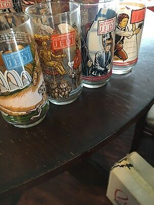 4 Vintage 1977 - 1983 Star Wars BK Movie Promo Glasses RETURN OF THE JEDI & More