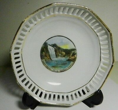 SOUVENIR Montmorency Falls,Quebec Canada-Reticulated 10-sided Gold Rim Bowl