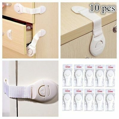 10 PCS Kids Safety Latch Locks Band Prevents Children Open Cabinet Multi-Purpose