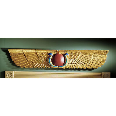 Ancient Replica Winged Sun Disk Egyptian Sculptural Wall & Door Pediment NEW