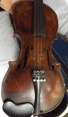 VINTAGE STAINER VIOLIN w BOW & CASE FOR REPAIR OR PARTS ONLY   NO RESERVE