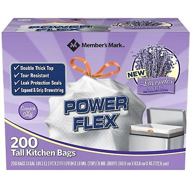 Member's Mark Power Flex Tall Kitchen Simple Fit Lavender Bags 13 gal., 200 ct.