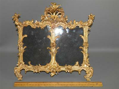Antique Victorian Ornate Bronze Floral Roses  Easel Back Double Picture Frame