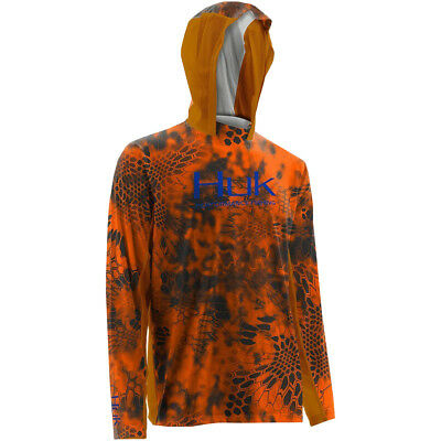 Huk Kryptek Icon Lightweight Antimicrobial Sun Protection Hoodie - Inferno