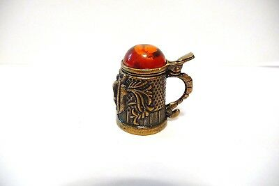 Thimble Handcrafted Brass-Bronze Russian Stein W/viking Ship & Baltic Amber Lid