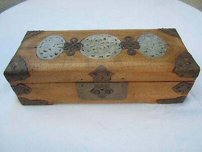 OLD Vtg CHINESE Wooden Brass & Inlaid Carved Jade JEWELRY BOX w/ Lock & Key RARE