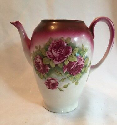 "Antique TEAPOT Mauve Pink Roses 8"" Tall Ceramic Porcelain Unmarked"
