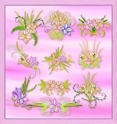 Lillies 10 Machine Embroidery Designs 3 Sizes