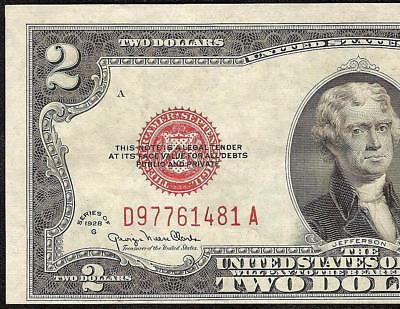 1928 G $2 Dollar Red Seal United States Legal Tender Note Paper Money Gift Idea