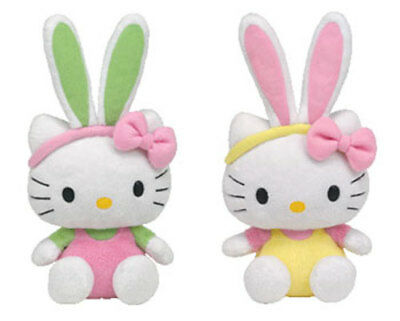 TY Beanie Babies - HELLO KITTY (Set of 2 - Bunny Pink & Yellow Overalls) (9 inch
