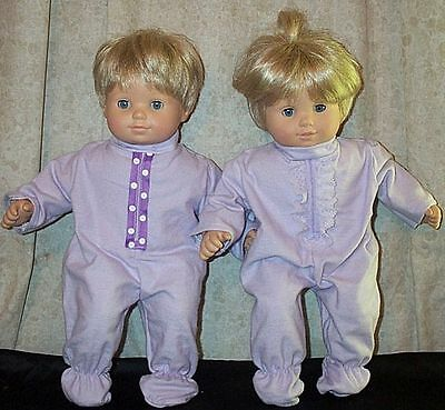 """Doll Clothes Baby Made 2 Fit American Girl 15"""" inch Bitty Twins Boy Pajamas 2Pc"""