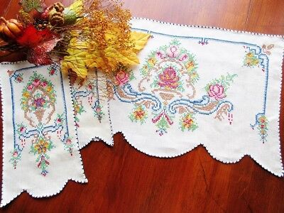 VINTAGE Hand-Embroidered 3 Pc. Set Linens For Vanity Table / Buffet Cross Stitch