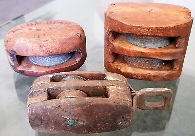 Vintage Antique Lot of 3 Wooden Boat Ship Pulley Block Nautical Shipping