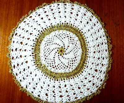 Beautifully Crocheted Round Doily White & Gold Colour Size 28 Cm/11 Ins Diam Vgc