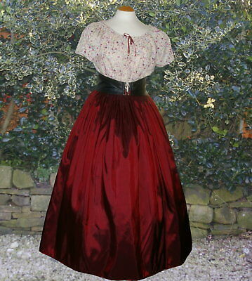 Ladies Victorian Dickensian 2pc costume fancy dress size 10-12 burgundy & floral