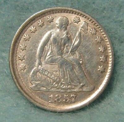 1857 SEATED LIBERTY SILVER HALF DIME VF-XF * US Coin