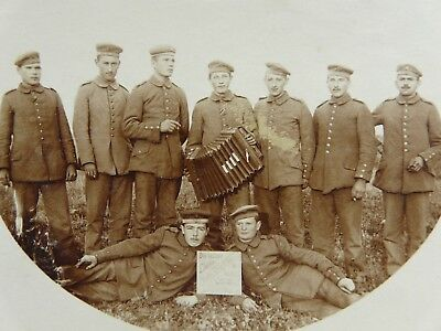 German Soldiers,Accordion,Sign Eastern Front-WW1 Original Photograph  (p72)
