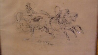 Antique 19C Man in Galloping Horse Drawn Wagon Pencil Drawing