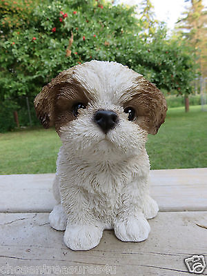 6.5 INCH SHIH TZU PUPPY FIGURINE resin animal Statue PET BROWN / WHITE DOG SITS