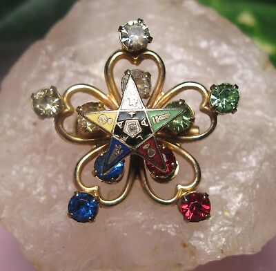 Vintage ORDER OF THE EASTERN STAR RHINESTONE ACCENT BROOCH PIN  OES