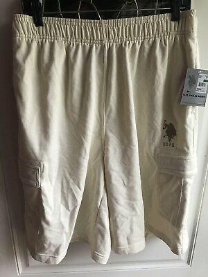 NWT U.S. POLO ASSN Men's Ivory CARGO SWEAT SHORTS. Size L $40.00