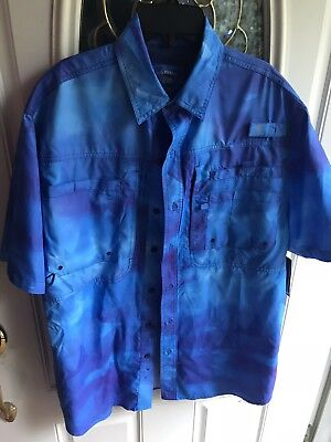 Reel Legends Mens Saltwater Fishing Vented Blue Teal Sea Life Print Shirt M NWT