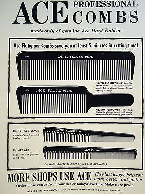 Vintage Barber 4 ACE PROFESSIONAL COMBS SIGN/AD ACE FLEXOR & FLATOPPER